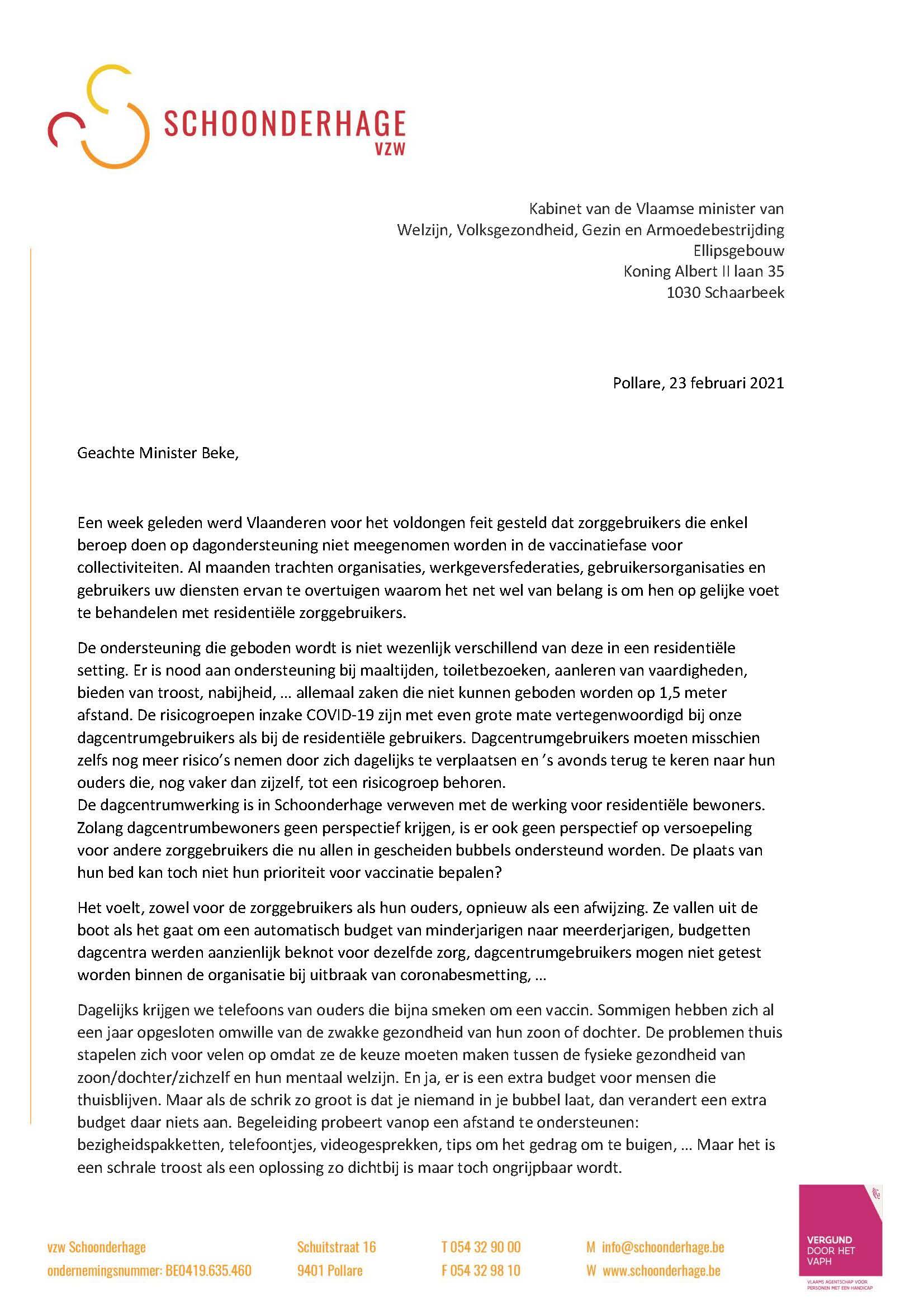 Brief Schoonderhage vzw kabinet Vlaams Minister Beke_Pagina_1